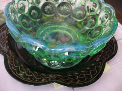 L E Smith MOON & STARS Mint Green Opalescent Nappy Candle Holder or Dish