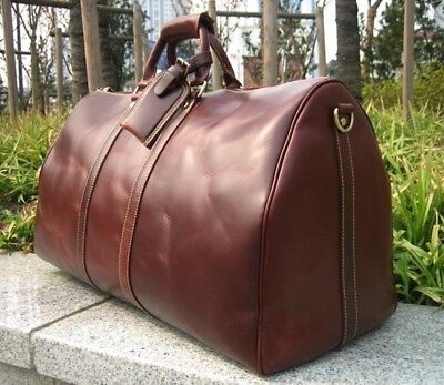 24'' Larger Genuine LEATHER Mens Womens DUFFLE TRAVEL BAG LUGGAGE Carry-On