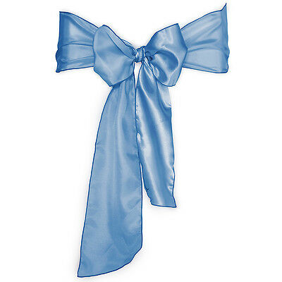 100 Baby Blue Satin Chair Covers Sash Bow Wedding Party