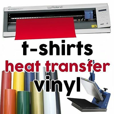 HEAT TRANSFER VINYL (graphtec t-shirts cutter pro 2 craft robo) 5 PCS x 22x50cm