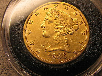 1886-S Liberty Head Five Dollar Gold Coin - Nice