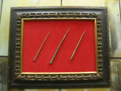 3 Framed Ancient Bronze Pins