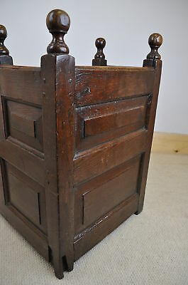 antique 18th century panelled oak cradle