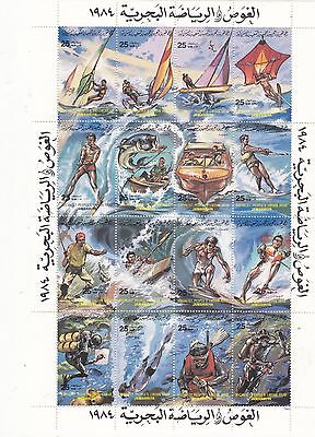 stamps LIBYA 1984 DIVING AND MARIN SPORTS SHEET MNH */*