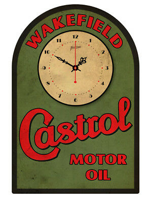 CASTROL MOTOR OIL  VINTAGE  TIN SIGN CLOCK  Retro Style