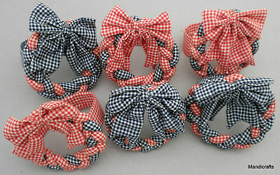 Napkin Ring Set 6 Braided Fabric Wreath Red White Blue July 4th Holiday Picnic