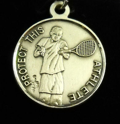 ST. CHRISTOPHER SPORTS MEDAL TENNIS STERLING SILVER