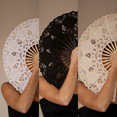 Lace Spanish Hand Fan Party Wedding Black Ivory White