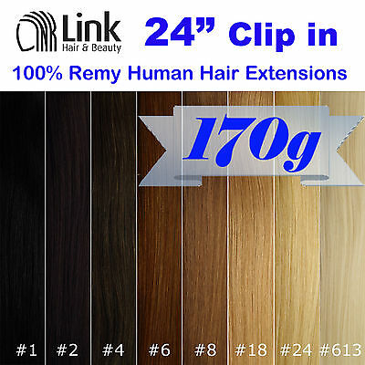 """24""""CLIP IN REMY HUMAN HAIR EXTENSION Brown Blonde Black"""