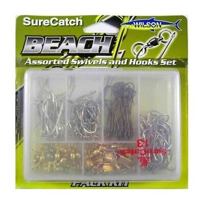 Surecatch Beach Assorted Swivel and Hook Pack In Fishing Tackle Box