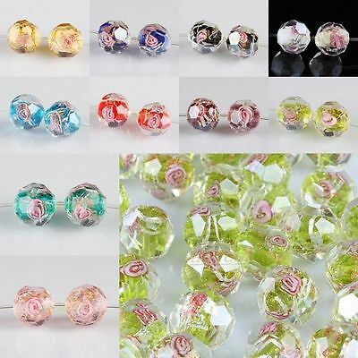 Wholesale Faceted Lampwork Glass Flower Floral Loose Spacer Beads Crafts Finding