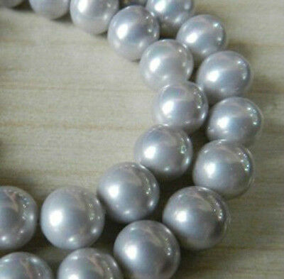 """10mm Silver South Sea Shell Pearl Gemstones Round Loose Beads 15"""" AAA+"""