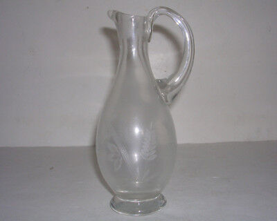 "BEAUTIFUL Vintage Clear ETCHED Glass 7"" Cruet Bottle NO STOPPER"