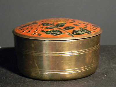 Old India Brass Enameled top Container (eb553)