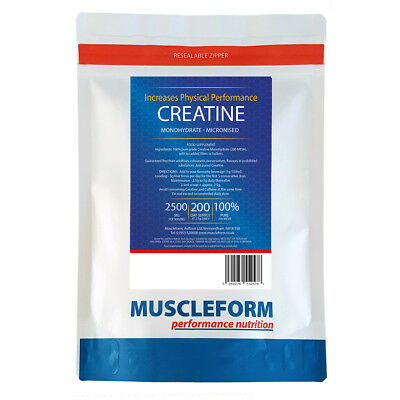 MUSCLEFORM™ CREATINE Monohydrate Micronised 250g Pouch | 100% PURE | 200 mesh |