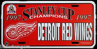 1997 Detroit Red Wings License Plate Stanley Cup Champions NHL Hockey