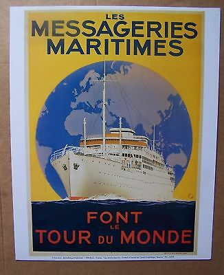 #) A14) affiche publicité reproduction MESSAGERIE MARITIME