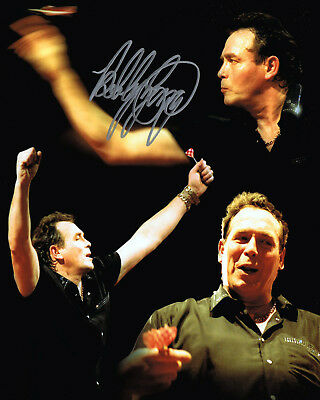 BOBBY GEORGE Hand Signed Darts Montage 10x8 Photo AFTAL