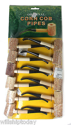 "12 Corn Cob Pipes Regular Size 6"" Long in Sealed Display Board"