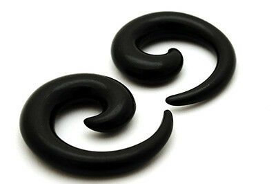 Pair of Black Acrylic Spirals set tapers plugs gauges
