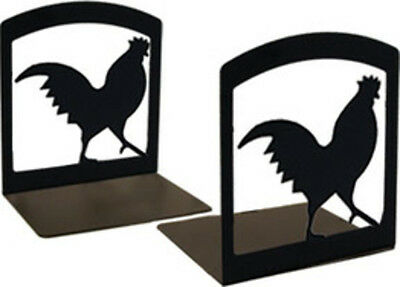 Wrought Iron Black Powder coated Rooster Book Ends BE-1 New