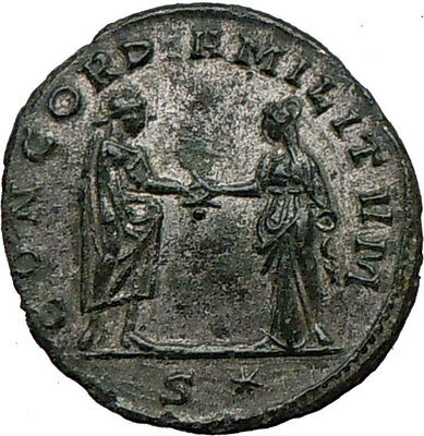 AURELIAN shaking hands with Concordia  Silvered  Ancient  Roman Coin  i21589