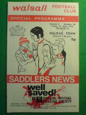 PROGRAMME - Walsall v Halifax Town - 21 Apr 1972