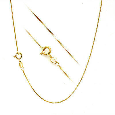 18K Yellow Gold over Silver 1mm Box Chain Necklace 16""