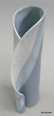 HILBORN Cda Art Pottery BUD Table VASE Curl Detail Blue
