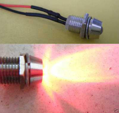 1, Red Flash Wired 12V 5mm Car LED + Metal Holder,12RFi