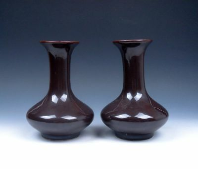Pair Pure Dark Brown Hand Glazed Unique Shaped Vases