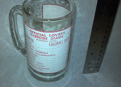 Vintage Official Lovers Excersise Guide Glass Mug 1960
