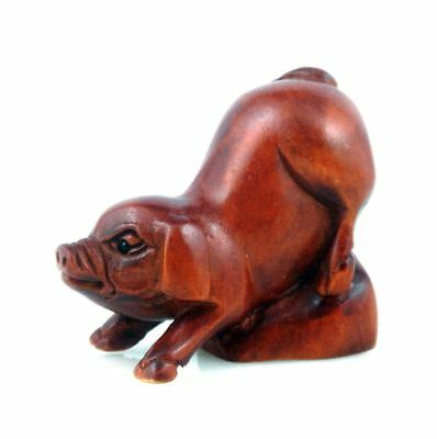Boxwood Carved Netsuke Sculpture Lovely Pig 2 Legs Out