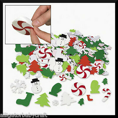 50 Foam Winter Christmas Stickers Shapes Kids ABCraft