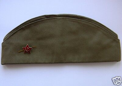 PILOTKA Genuine Soviet Army Soldier Uniform Hat USSR Garrison Cap + BADGE