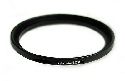Step-up adapter ring 58-62 58mm-62mm Anodized Black NEW for Camera New US Seller