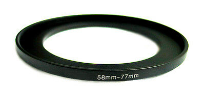 Step-up adapter ring 58-77 58mm-77mm Anodized Black NEW