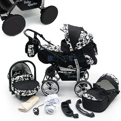 NEW Baby Pram + Free Car seat - Carrycot - Pushchair Stroller buggy 57 COLOURS