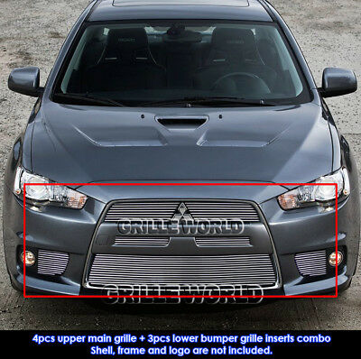For 10-14 Mitsubishi Lancer Evolution Billet Grille Combo