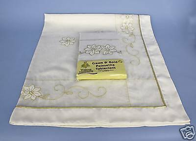 """54""""x70"""" Cream and Gold Poinsettia Tablecloth (D22)"""