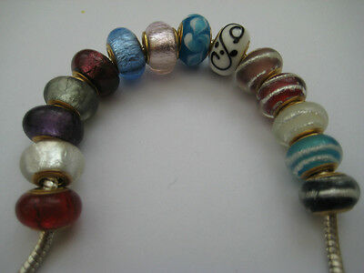 Gold Core Lampwork Beads for European Charm Bracelets