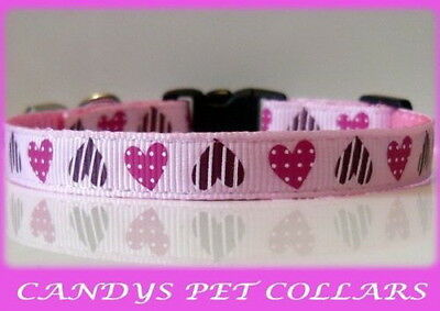 """Pink Hearts Cat Kitten Safety Collar 9"""" With Bell"""