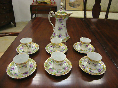 Antique Japanese Art Deco Set of 6 Cup & Saucer & Pot