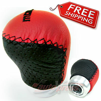 BLACK REAL Leather in RED Thread Manual Gear Shift Knob UNIVERSAL MT Shifter 95H
