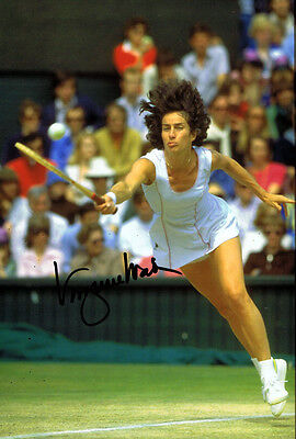 Virginia Wade SIGNED Wimbledon Tennis 12x8 Photo AFTAL
