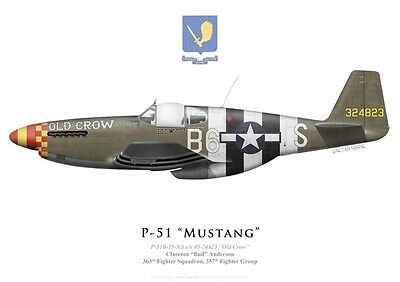 "Print P-51B Mustang ""Old Crow"", Bud Anderson, 357th FG (par G. Marie)"