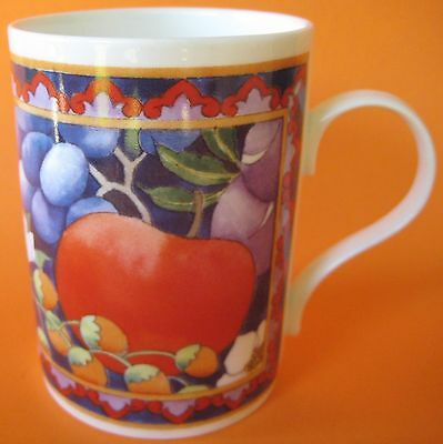 Staffordshire Crown Trent 1 Coffee Cup Mug Fruits Fine Bone Grapes White Nice
