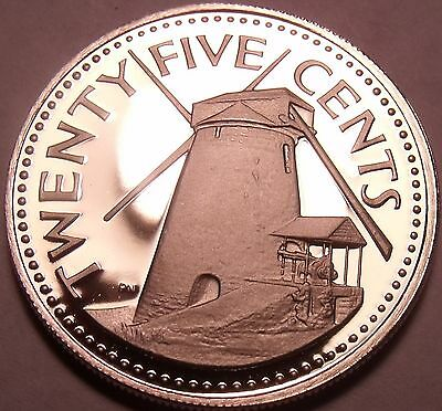 Cameo Proof Barbados 1975 25 Cents~Morgan Lewis Windmill~Only 20k Minted~Fr/Ship