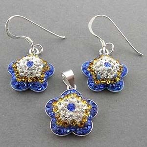 MULTI COLOR CRYSTAL 925 SILVER FLOWER JEWELRY SET FS