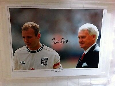 BOBBY ROBSON England Manager HAND SIGNED 16x12 Autograph COA AFTAL Alan SHEARER